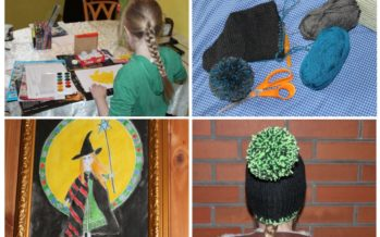 "Helena-Reet: THE DAY full of handicraft with my daughter Ivanka Shoshana! Two knit bon-bon hats, paintings and an important information: ""Mummy is fat and daddy is tall"""