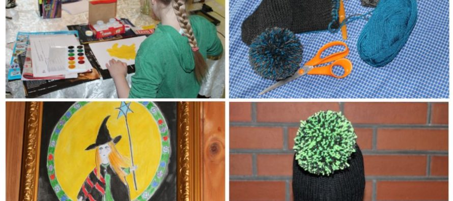 """Helena-Reet: THE DAY full of handicraft with my daughter Ivanka Shoshana! Two knit bon-bon hats, paintings and an important information: """"Mummy is fat and daddy is tall"""""""