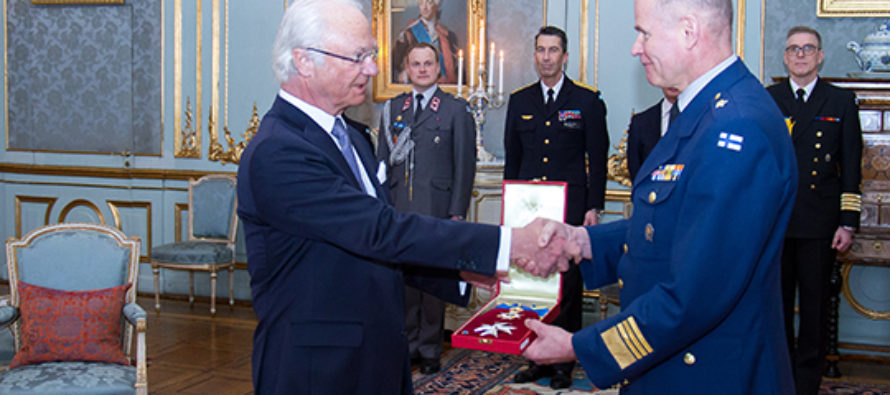 Sweden: General Jarmo Lindberg receives the Order of the Polar Star from The King