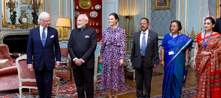 Sweden: The King holds an audience with India's Prime Minister Mr Narendra Modi at the Royal Palace of Stockholm