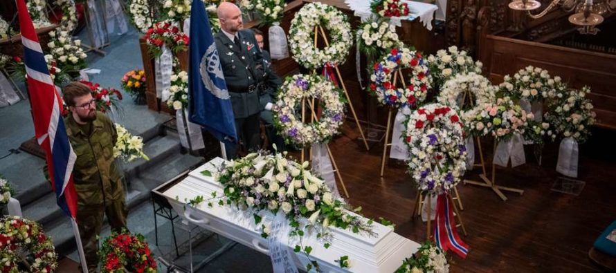 Crown Prince Haakon of Norway attends the funeral of war hero, Joachim Rønneberg