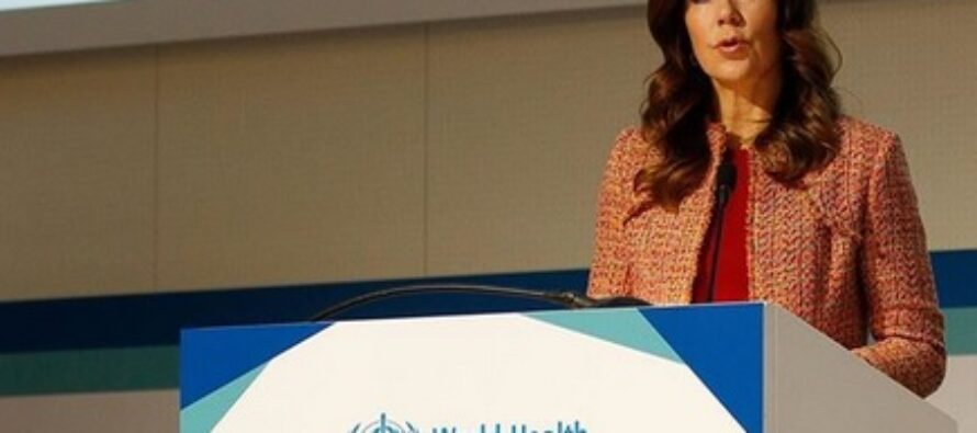 Crown Princess Mary of Denmark speaks about the importance of vaccination at a global health event