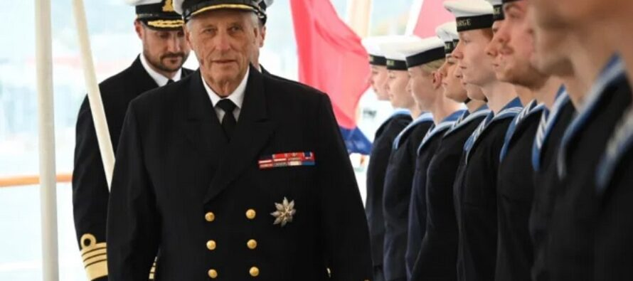 Norway: King Harald and Crown Prince Haakon inspect the Norwegian Royal Yacht