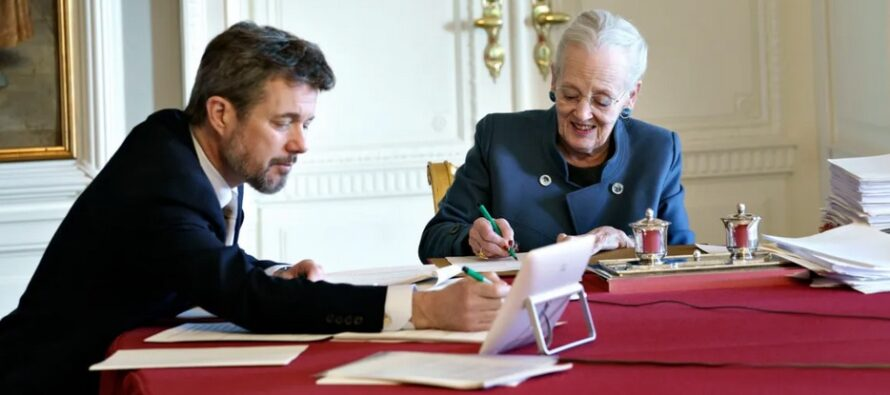Denmark: Queen Margrethe and Crown Prince Frederik conduct Denmark's first-ever digital Council of State